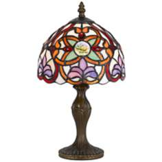 "Fleur De Lis 14"" High Tiffany Accent Lamp"