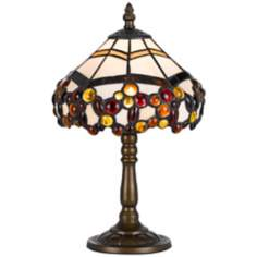 Amber Berries Antique Brass Tiffany Style Accent Lamp