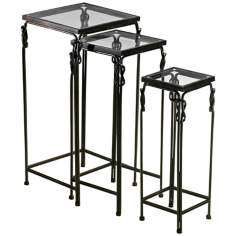 Set of 3 Dupont Glass Nesting Tables