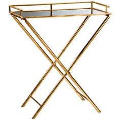 Rectangular Gold Leaf Bamboo Tray Table