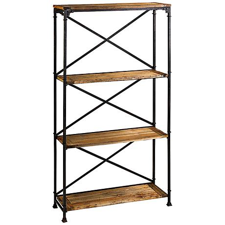 Monacco 3-Shelf Rustic Wood and Iron Etagere