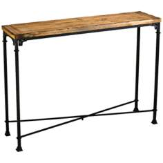 Rectangular Cunningham Rustic Wood and Iron Console