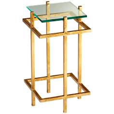 Contemporary Gold Leaf  and Glass Gallery End Table