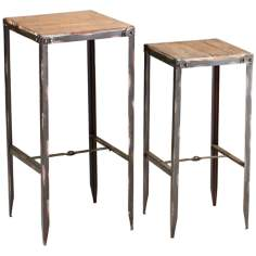 Set of Two Camelback Rustic Nesting Tables