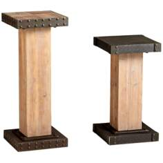 Tall Iron and Wood Mesa Pedestal