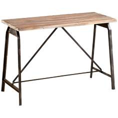 "Laramie 44"" Wide Raw Iron and Natural Wood Console"