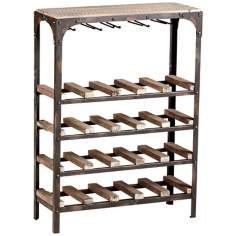 Gallatin 20-Bottle Raw Iron and Natural Wood Wine Rack