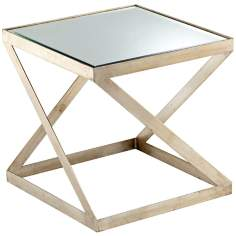 Square Iron and Glass Newman Side Table