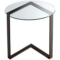 Round Iron and Glass Arrow Accent Table