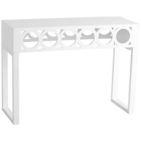 Rectangular White Lacquer Balbo Console Table