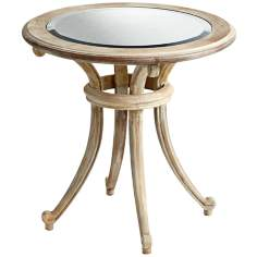 Round Wood and Oak Montclair Side Table