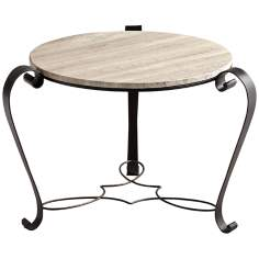 Granite and Iron Round Persal Side Table