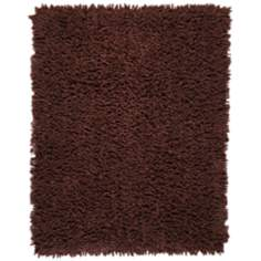 Coffee Bean Silky Shag AMB0650 Dark Brown Area Rug