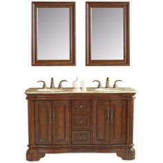 "Moscone 58"" Walnut Double Sink Vanity"