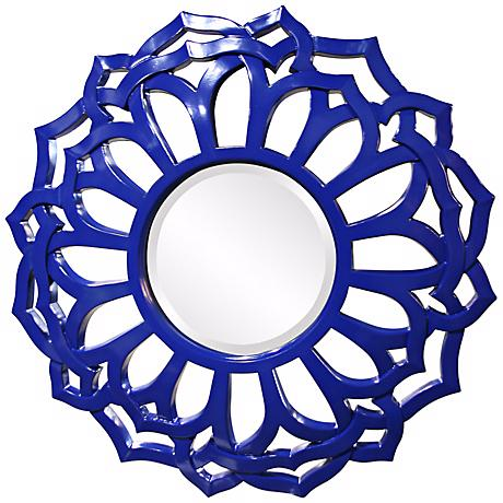 "Casey 32"" Wide Royal Blue Wall Mirror"