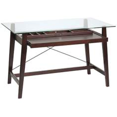 Tribeca Glass and Espresso Computer Desk