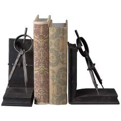 Set of 2 Metal Compass Bookends