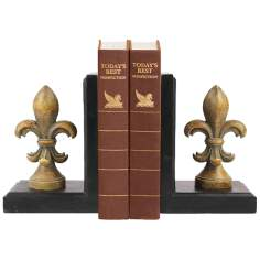 Set of 2 Regal Finial Gold Fleur-De-Lis Bookends