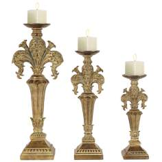 Set of 3 Imperial Iris Washed Gold Candleholders