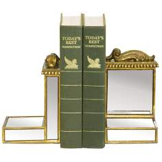Set of 2 Mirrored Gold Bookends