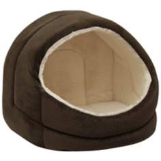Brown Micro-Suede Pet Bed Hut
