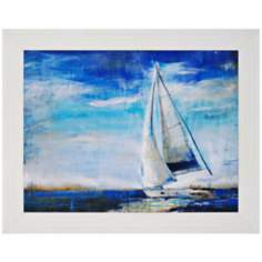 "Sail Away 47"" Wide Framed Sailboat Wall Art"
