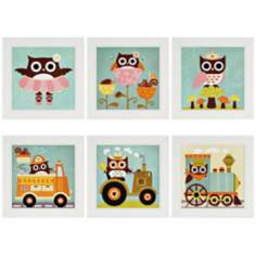 Set of 6 Owl Play Wall Art