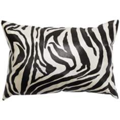 "Faux Leather Black Zebra 20"" Wide Decorative Throw Pillow"