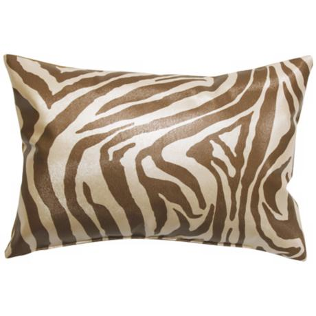 "Faux Leather Brown Zebra 20"" Wide Decorative Throw Pillow"