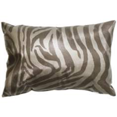 "Faux Leather Silver Zebra 20"" Wide Decorative Throw Pillow"