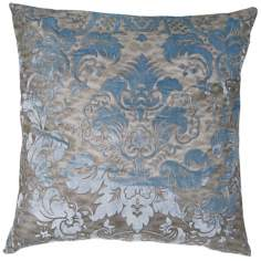 "Juliette French Blue 24"" Square Down Throw Pillow"