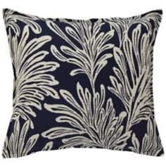 "Navy Blue Leaf 20"" Square Down Throw Pillow"