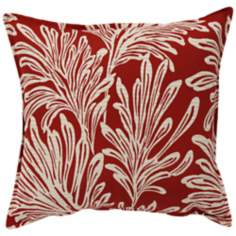 "Red Leaf 20"" Square Down Throw Pillow"