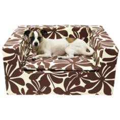"Luxury Brown Floral 31"" Wide Large Sofa Pet Bed"