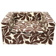 "Luxury Brown Floral 27"" Wide Medium Sofa Pet Bed"