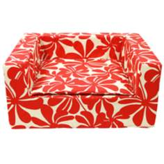 "Luxury Red Floral 27"" Wide Medium Sofa Pet Bed"