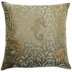"Green Seahorse 24"" Square Down Throw Pillow"