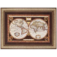 "Decorative World Map 46"" Wide Framed Wall Art"