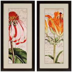 "Set of 2 Jardin Botanique 46"" High Framed Floral Wall Art"