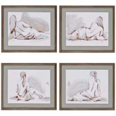 Set of 4 Draped Nude Wall Art Prints