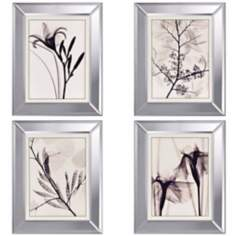 Set of 4 Translucent Botanical Wall Art Prints