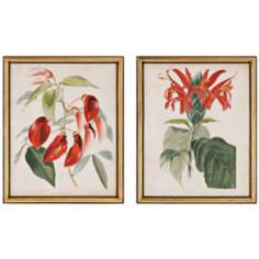 Set of 2 Red Floral Botanical Wall Art Prints