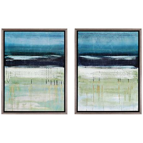 "Sea and Sky Giclee 25"" High Wall Art Set of 2"