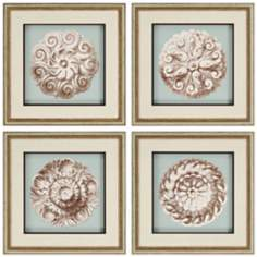 "Set of 4 Framed 23"" Square Rosettes Wall Art Prints"