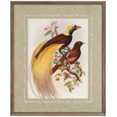 "Golden Birds of Paradise 34"" High Framed Wall Art"