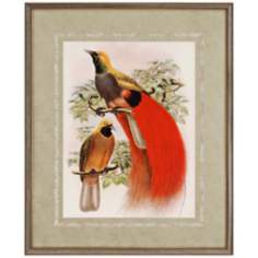 "Scarlet Birds of Paradise 34"" High Framed Wall Art"