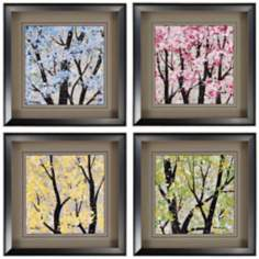 "Four Seasons Set of 4 18"" Square Framed Wall Art"