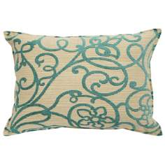 "Precious Jade Green 20"" Wide Down Throw Pillow"