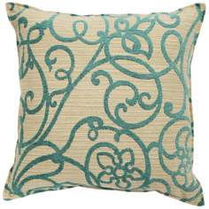 "Precious Jade Green 20"" Square Down Throw Pillow"