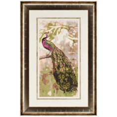 "Rustic Peacock II 45"" High Framed Wall Art"